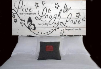 Live, Love, Laugh - Up-Cycled Pallet Wood Art -Head Board