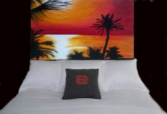 Sun Set - Up-Cycled Pallet Wood Art Head Board